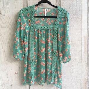 LC Lauren Conrad Sheer Floral Popover Blouse